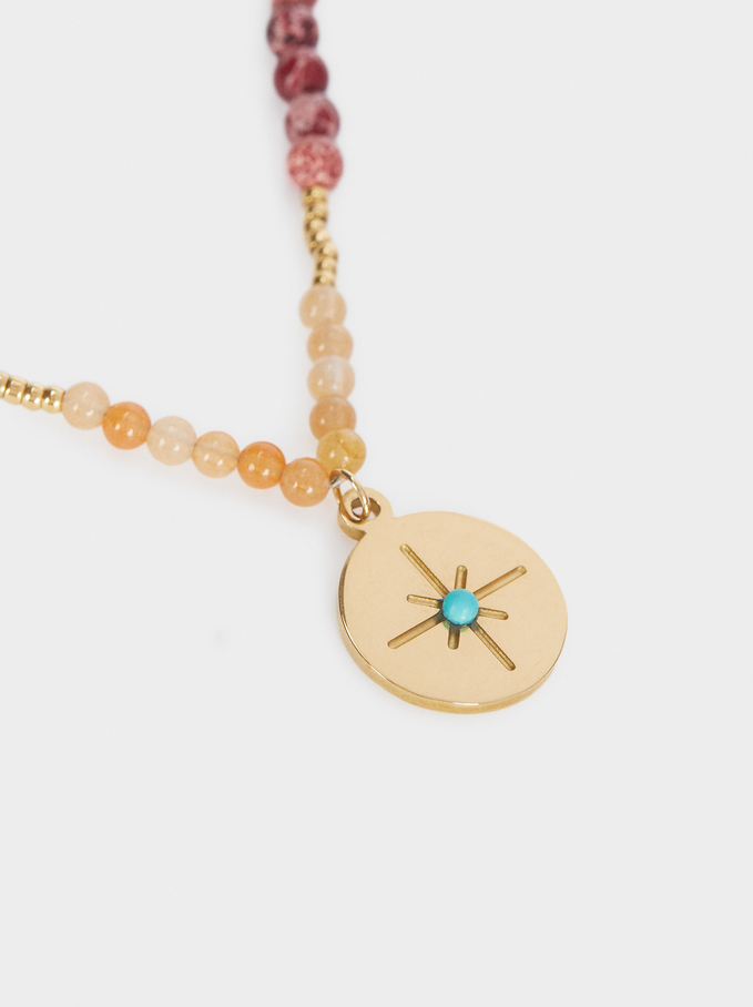 Short Steel Necklace With Beads And Star, Multicolor, hi-res