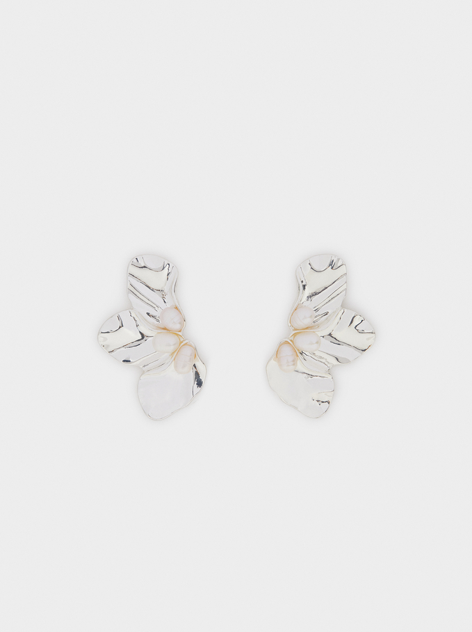 Flower Studs, White, hi-res
