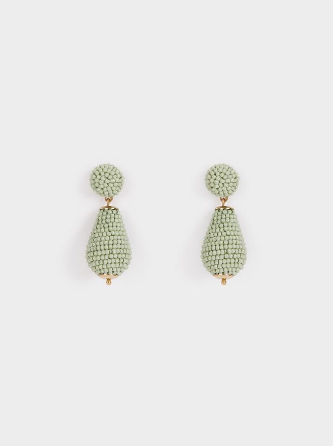 Watercolor Medium Hoop Earrings With Beads, Green, hi-res