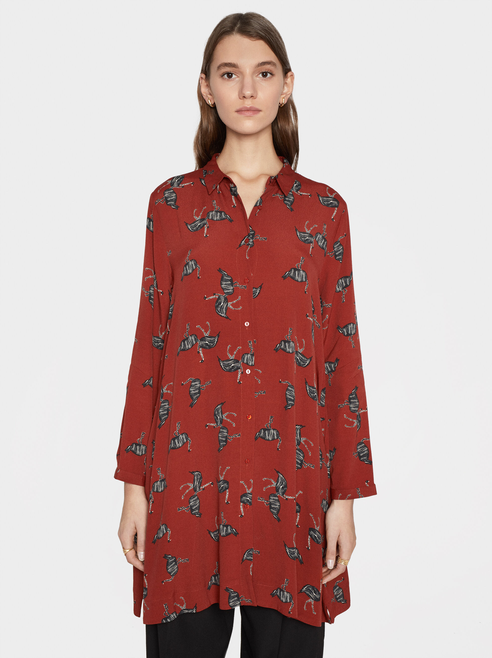 Ostrich Print Shirt Dress, , hi-res