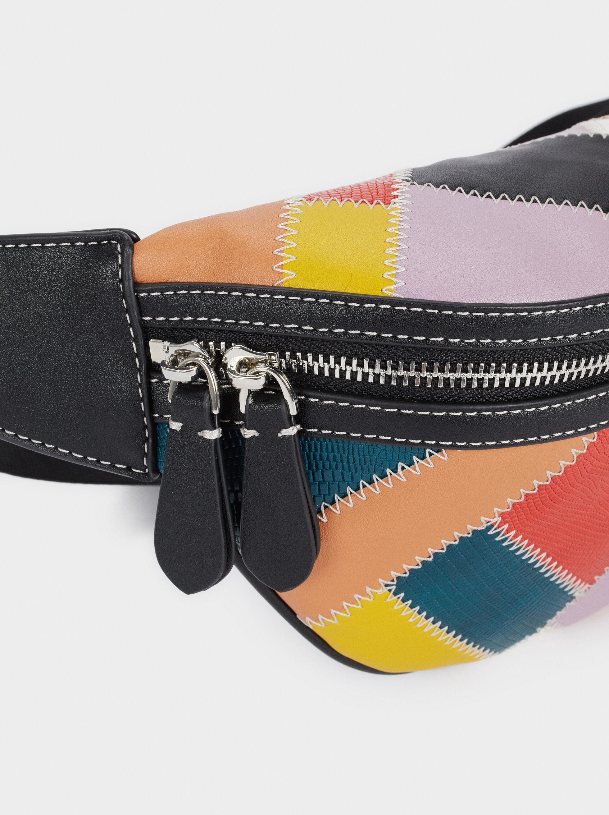Riñonera Diseño Patchwork Multicolor, Negro, hi-res