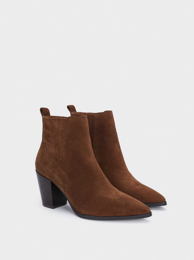 Heeled Leather Ankle Boots, Brown, hi-res