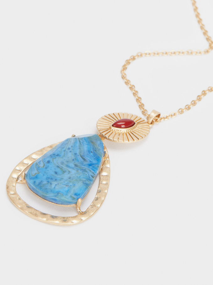 Gold Necklace With Pendant, Multicolor, hi-res