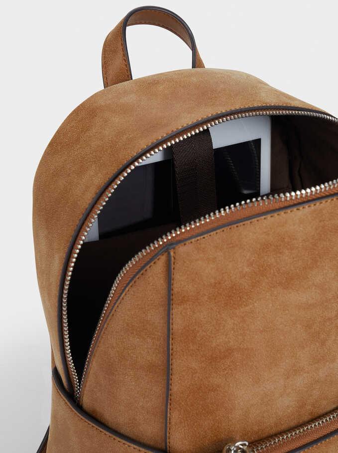 Backpack With Outer Pocket, Camel, hi-res