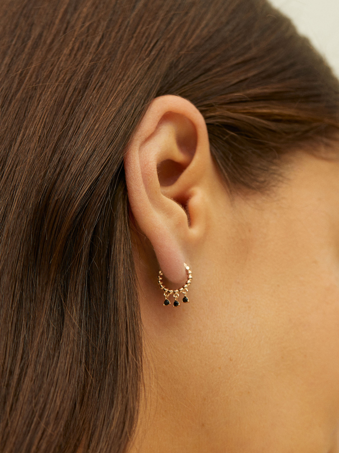 Stainless Steel Small Hoop Earrings, Orange, hi-res