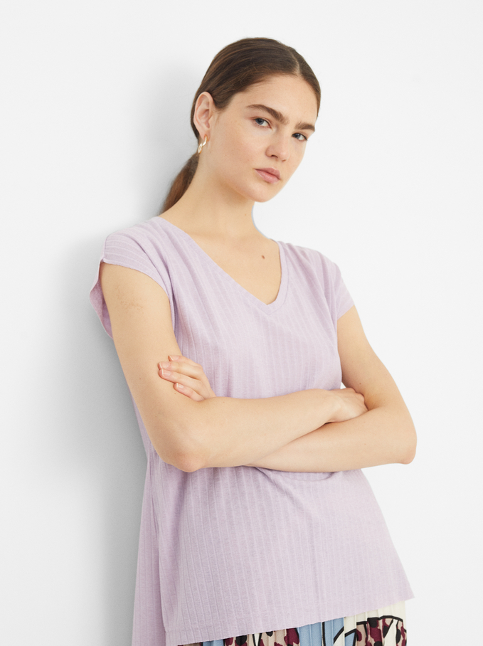 Sleeveless V-Neck Top, Purple, hi-res