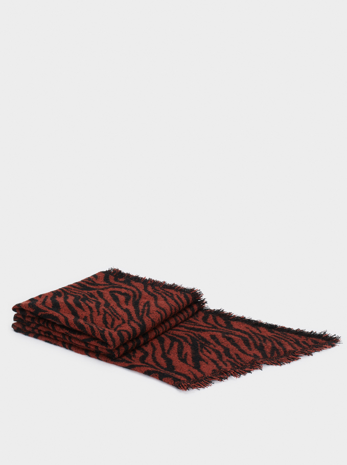 Maxi Scarf With Animal Print, Red, hi-res
