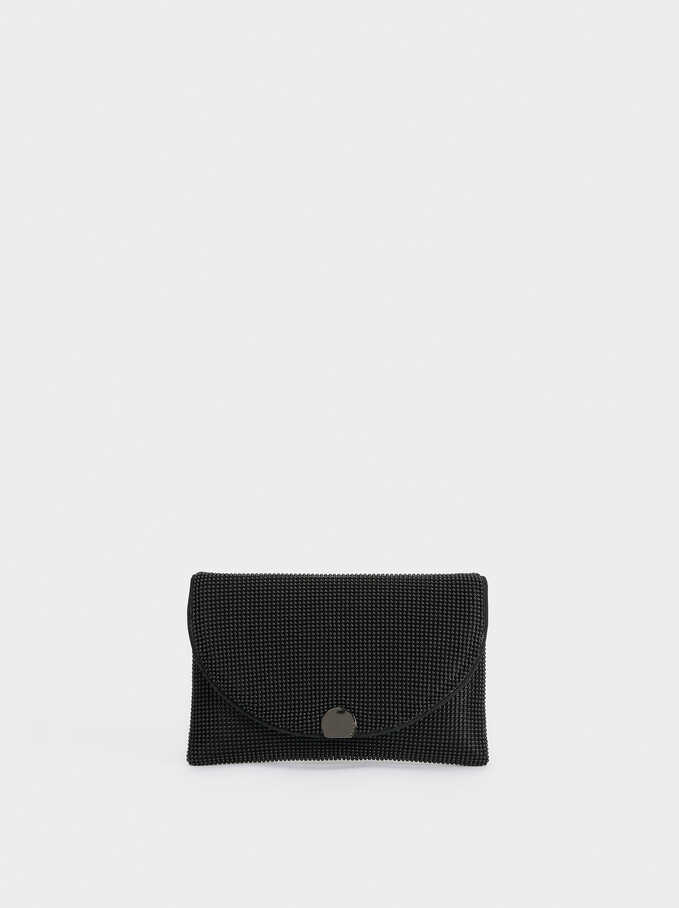 Mesh Party Clutch, Black, hi-res