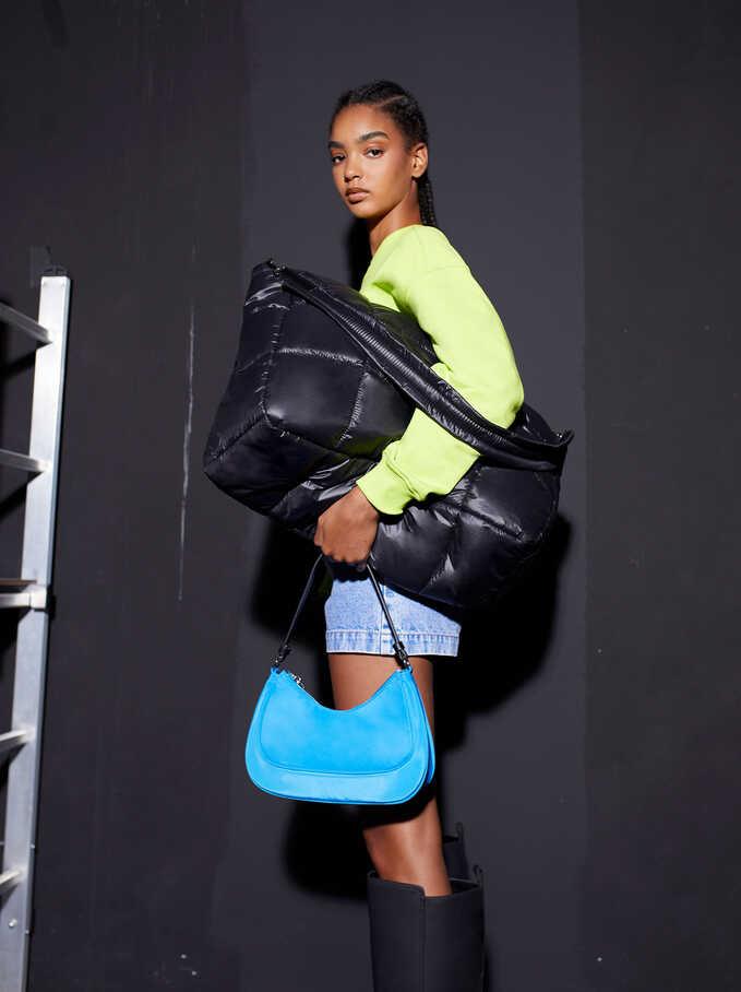 Quilted Nylon Tote Bag, Black, hi-res