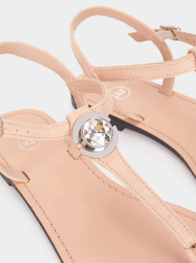 Flat Sandals With Rhinestone Detail, Beige, hi-res
