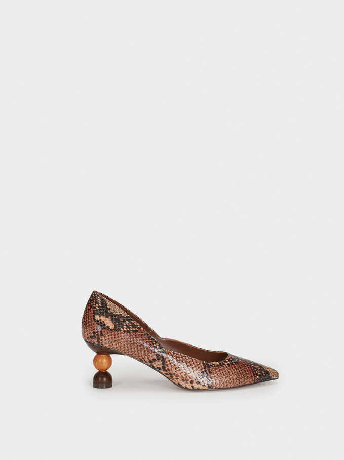 Court Shoes With Geometric High Heels, Brown, hi-res