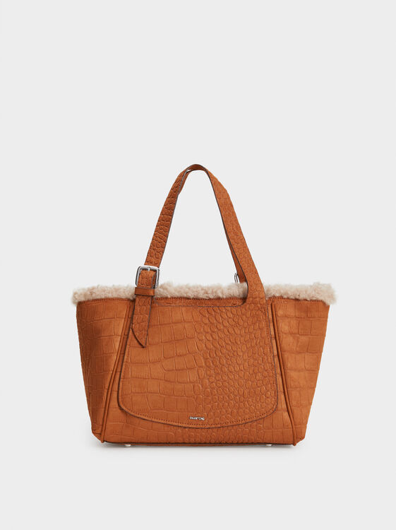 Textured Faux Suede Tote Bag, Camel, hi-res