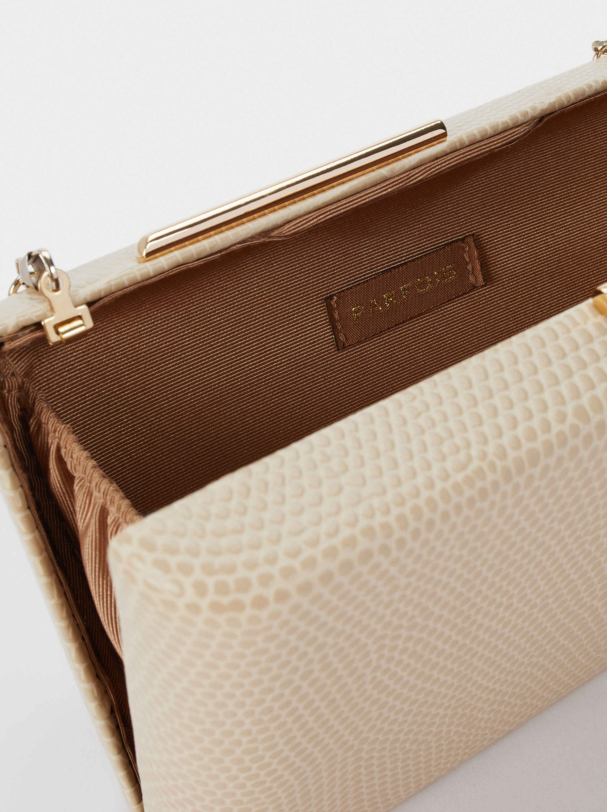 Embossed Animal Print Clutch, Beige, hi-res