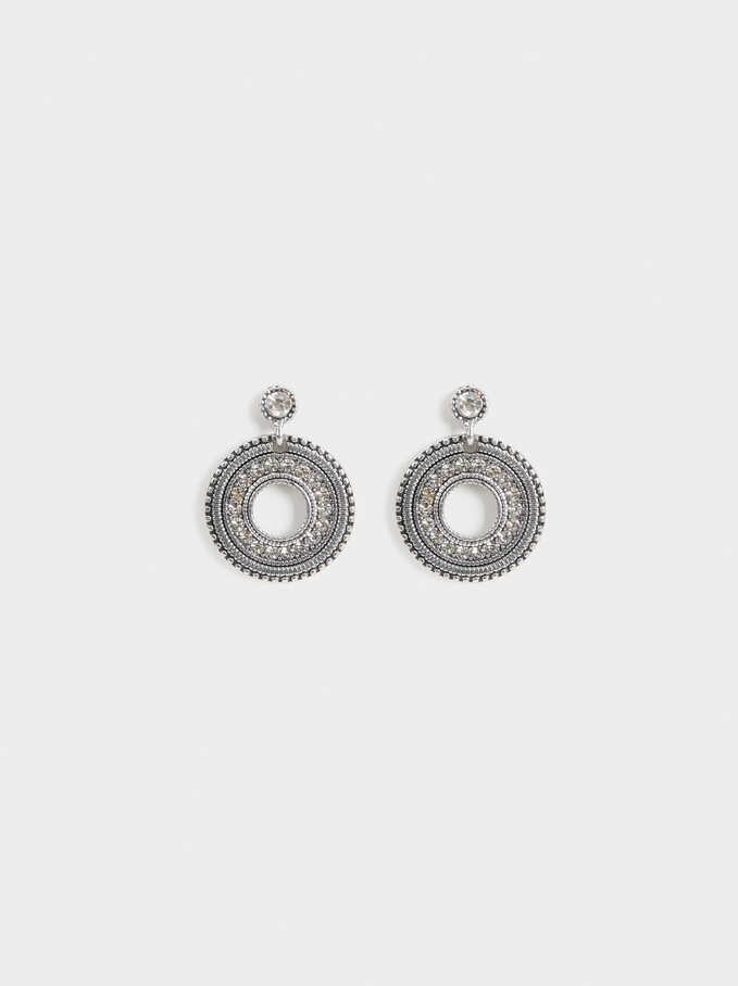 Medium Rhinestone Earrings, Silver, hi-res
