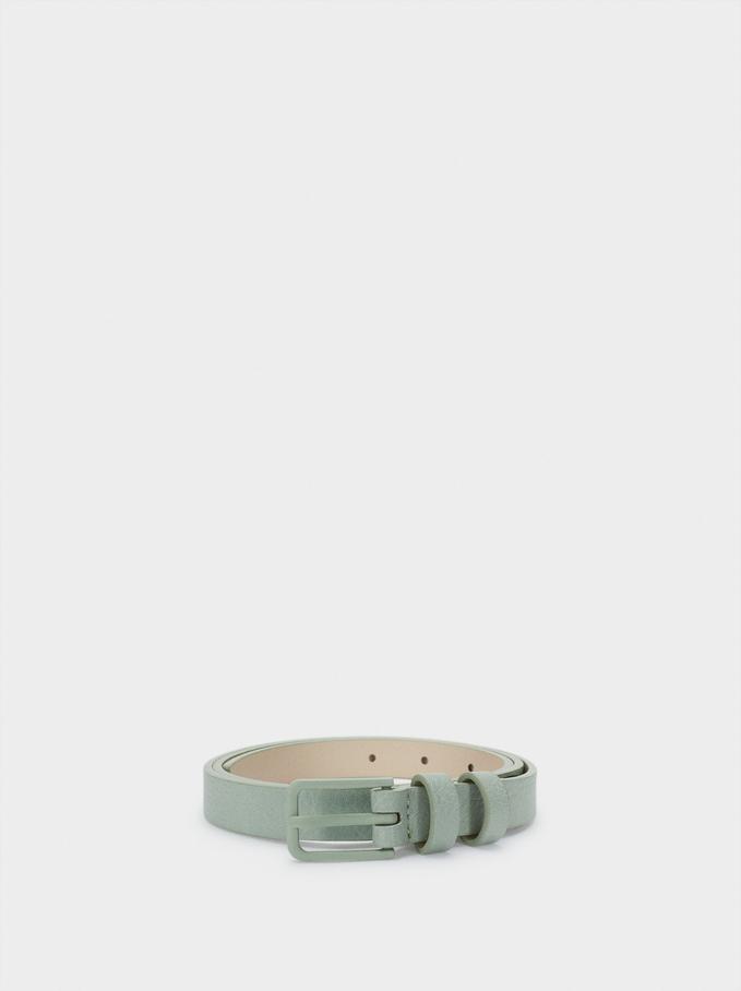 Cinturón Con Hebilla Cuadrada, Verde, hi-res