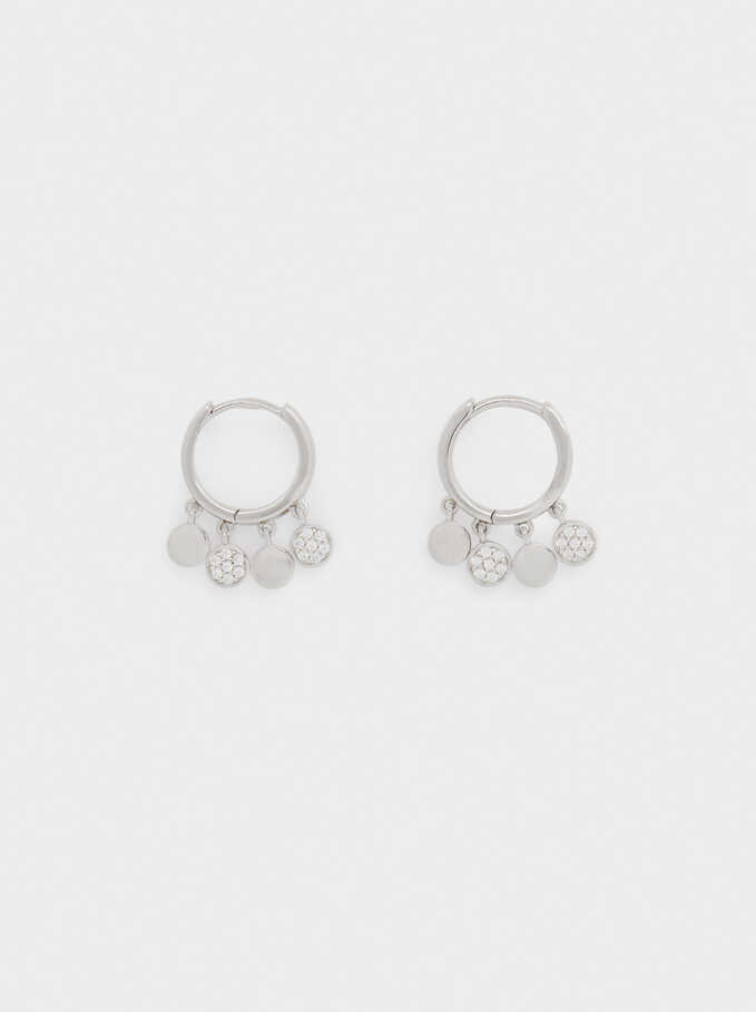 Short 925 Silver Hoops With Zirconia, Silver, hi-res