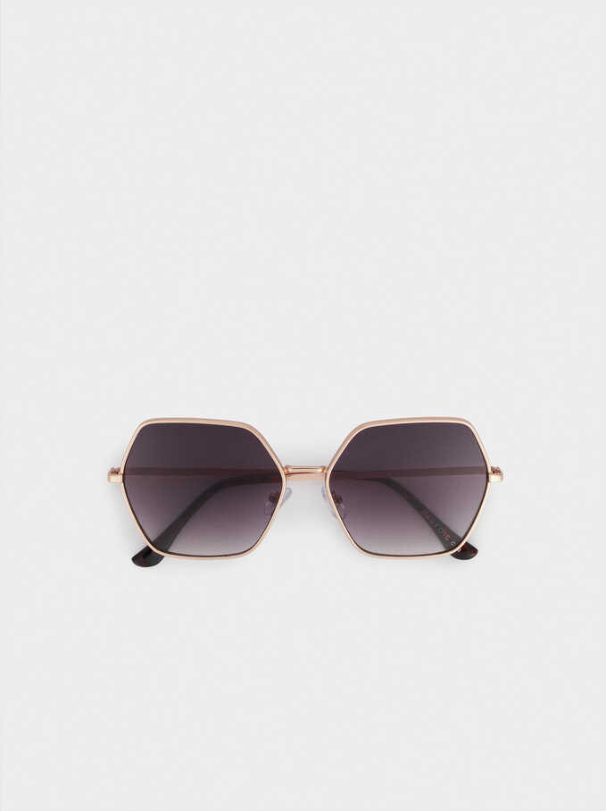 Hexagonal Metal Sunglasses, Orange, hi-res