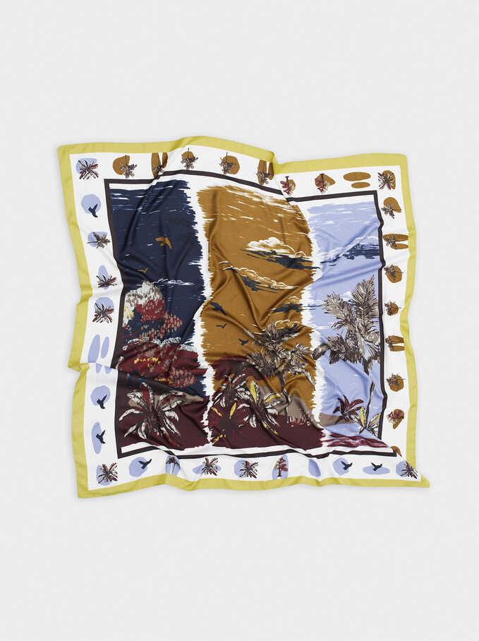 Printed Square Neckerchief, Khaki, hi-res