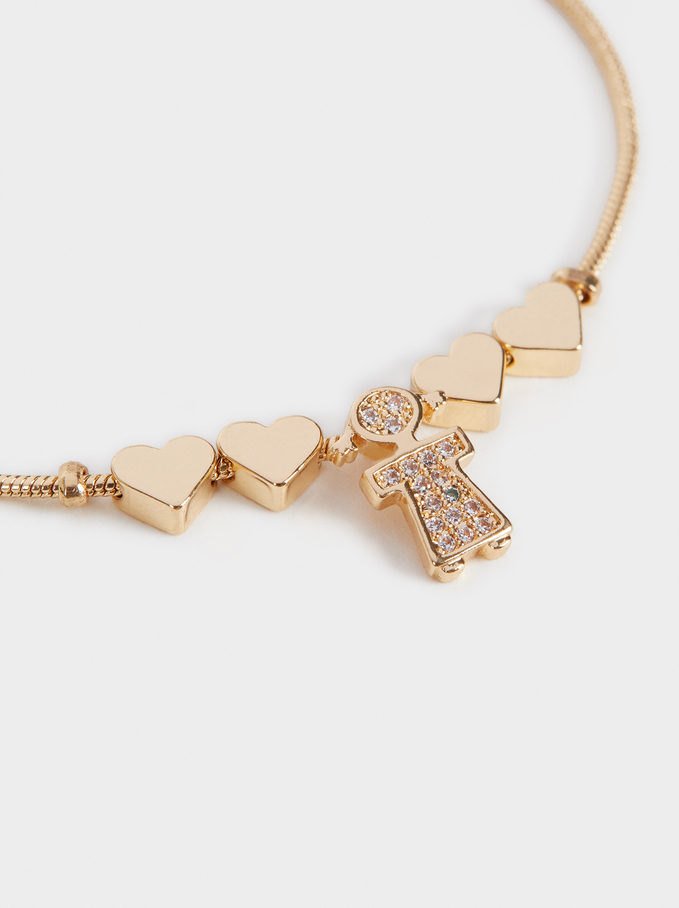 Girl'S Adjustable Heart Bracelet, Golden, hi-res