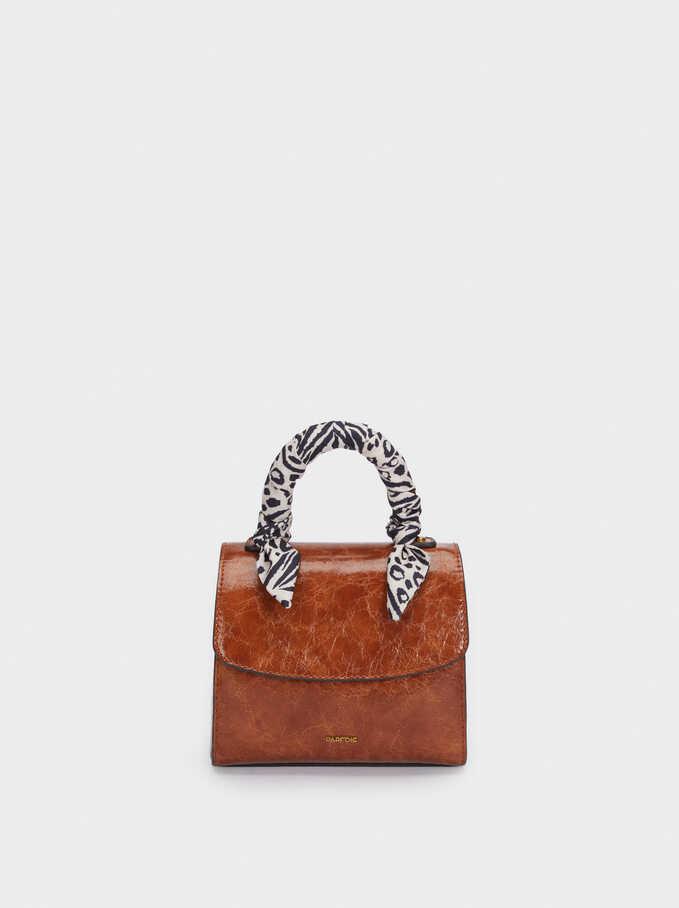 Crossbody Bag With Printed Handkerchief Handle, Camel, hi-res