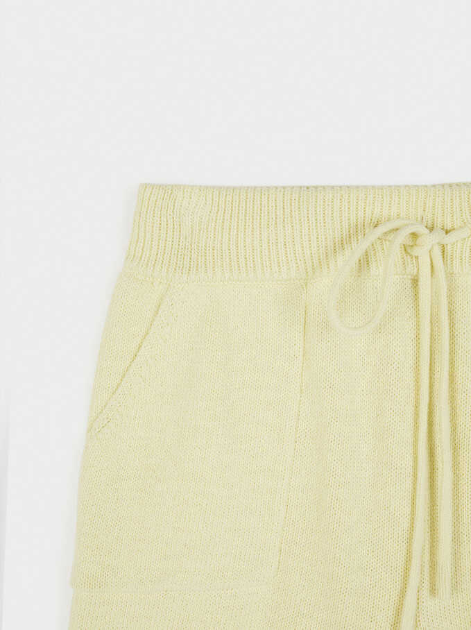 Knit Shorts, Yellow, hi-res