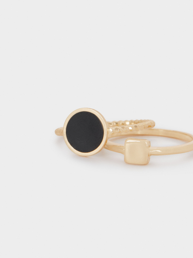 Set Of Rings With Enamel, Black, hi-res