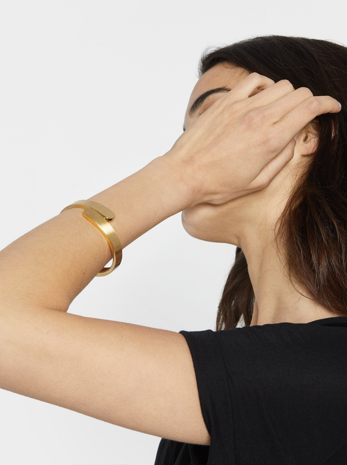 Rigid Gold Bracelet, Golden, hi-res