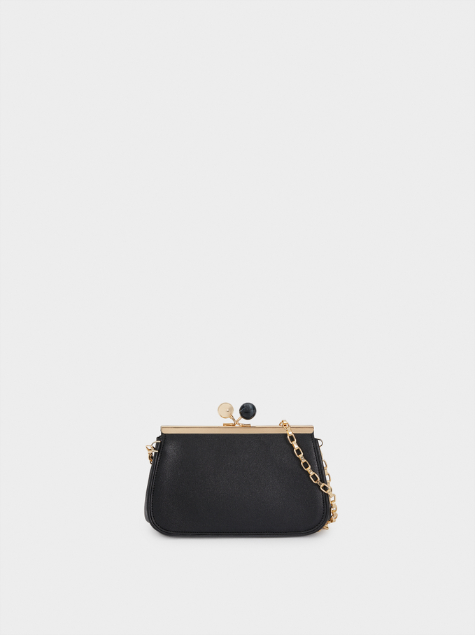 Multi-Use Handbag With Clasp Closure And Shoulder Strap, Black, hi-res