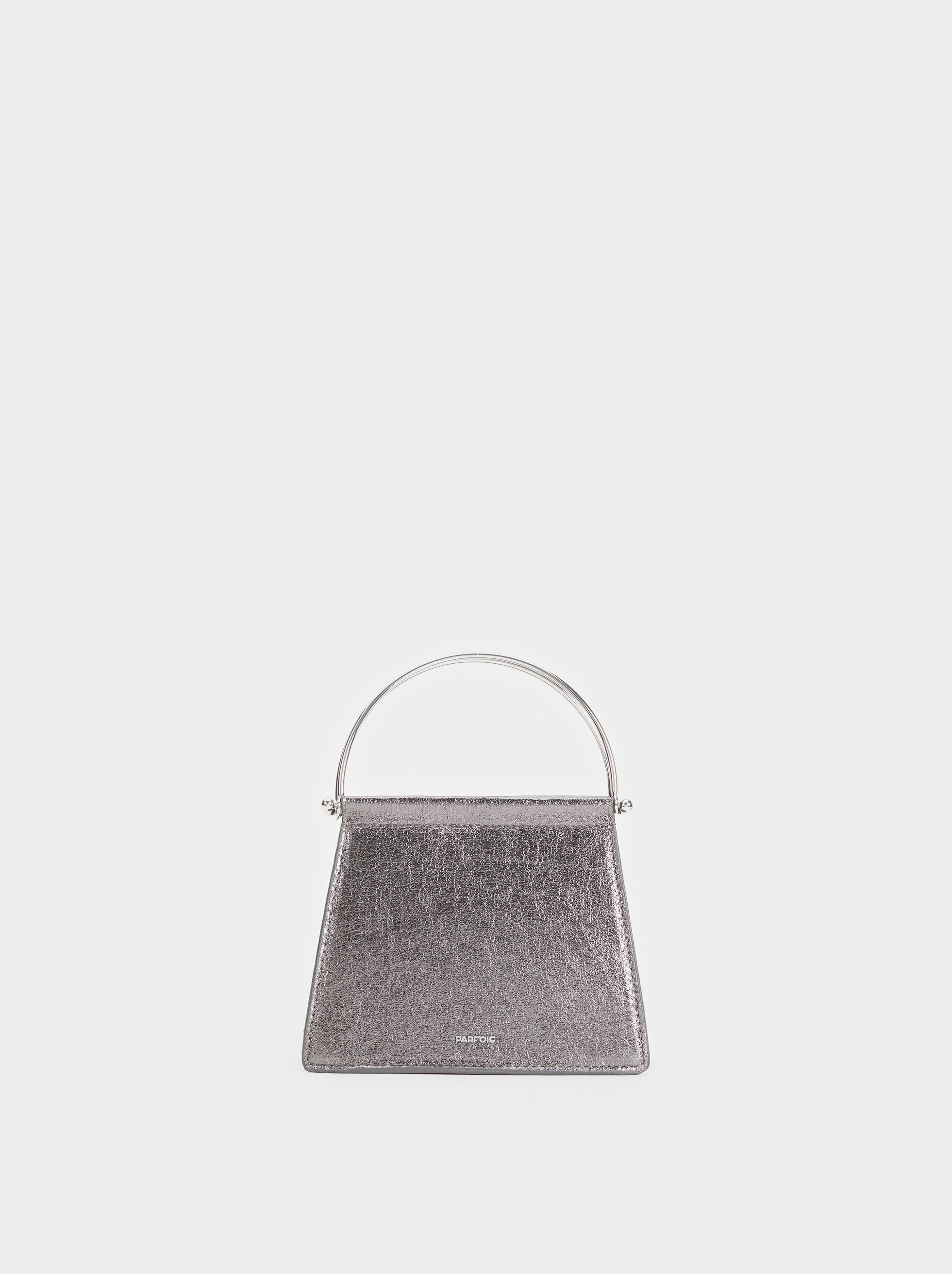 Party Clutch With Metal Handle, Silver, hi-res