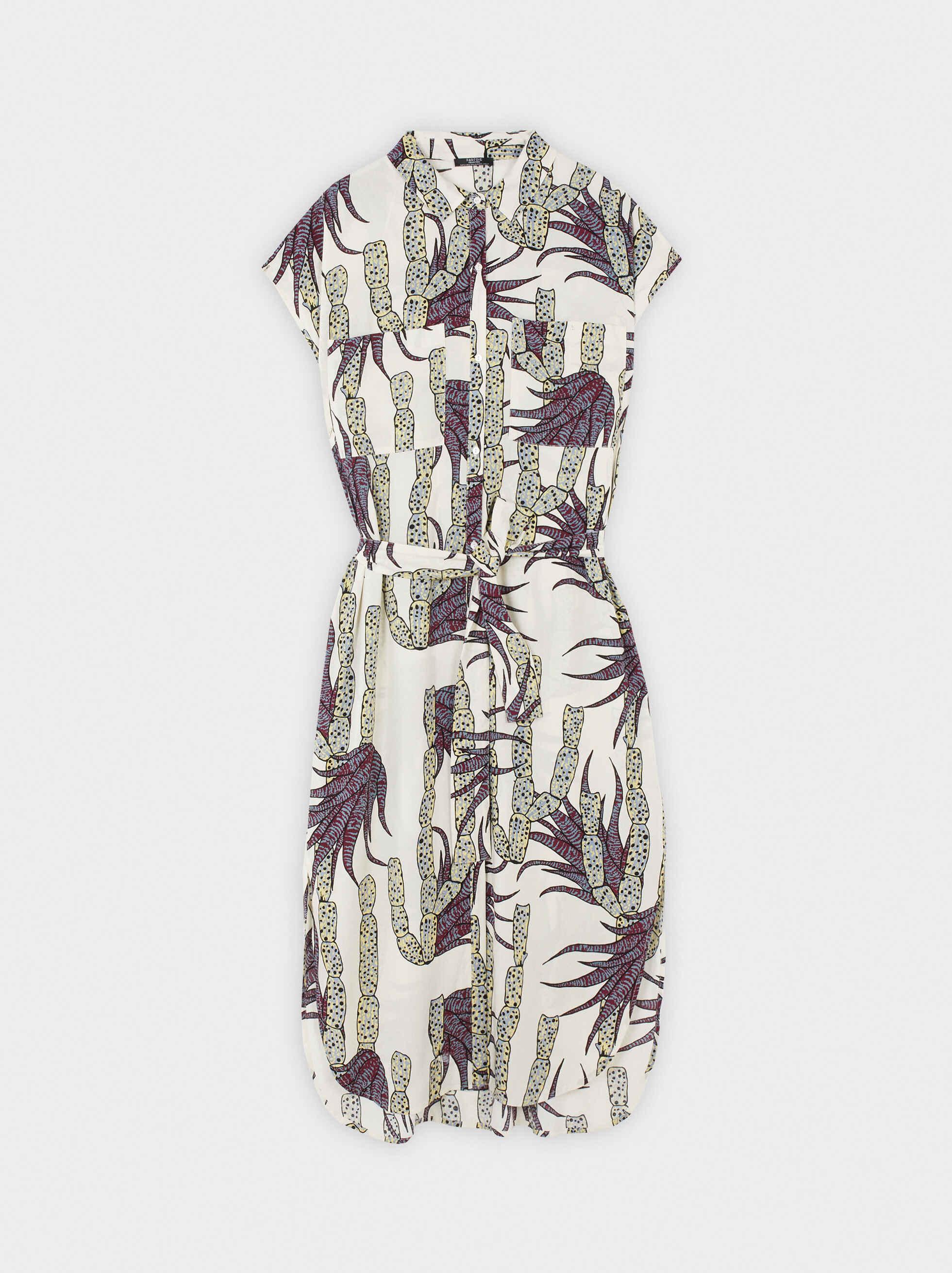 Floral Print Shirt Dress, Ecru, hi-res