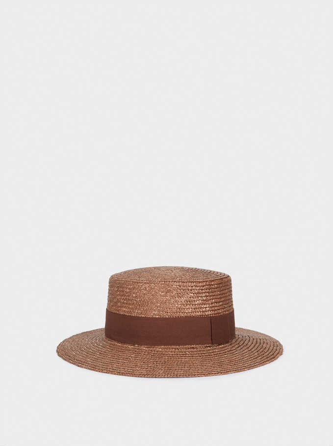 Textured Straw Hat With Contrast Band, Brown, hi-res