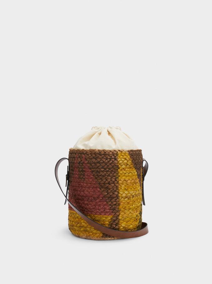 Jute Bucket Bag, Yellow, hi-res