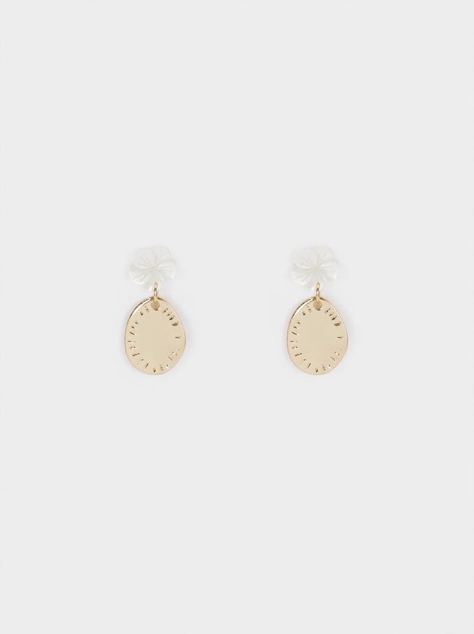 Watercolor Small Earrings With Flower, White, hi-res