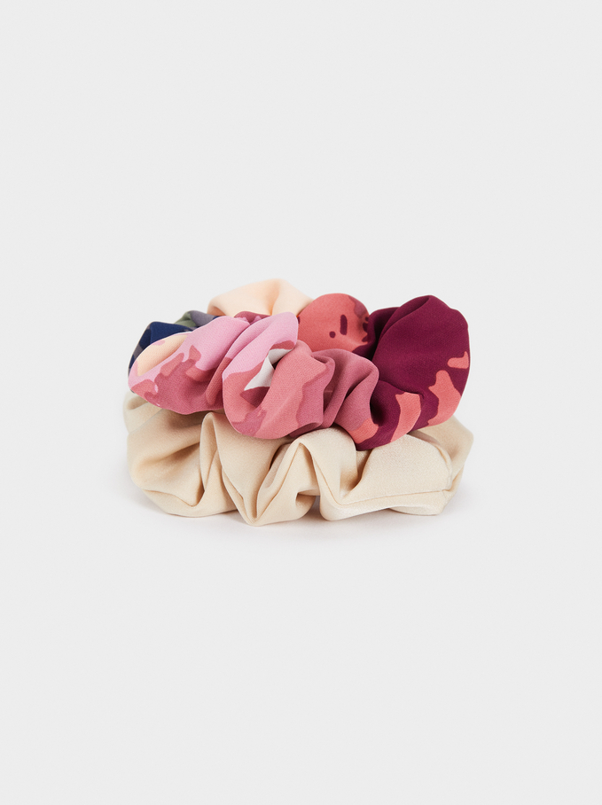 Multicoloured Printed Voluminous Scrunchie, Multicolor, hi-res