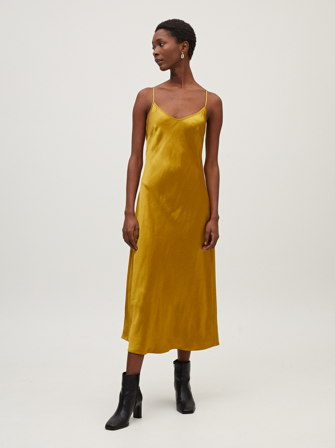 Sleeveless Flowing Dress, Yellow, hi-res