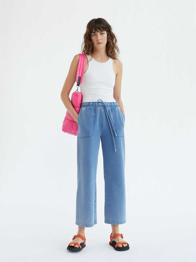 Trousers With An Elasticated Waistband, Blue, hi-res