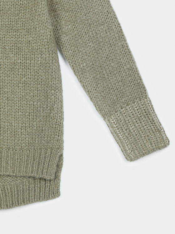 Sweater With Shimmer Thread Cuffs, Khaki, hi-res