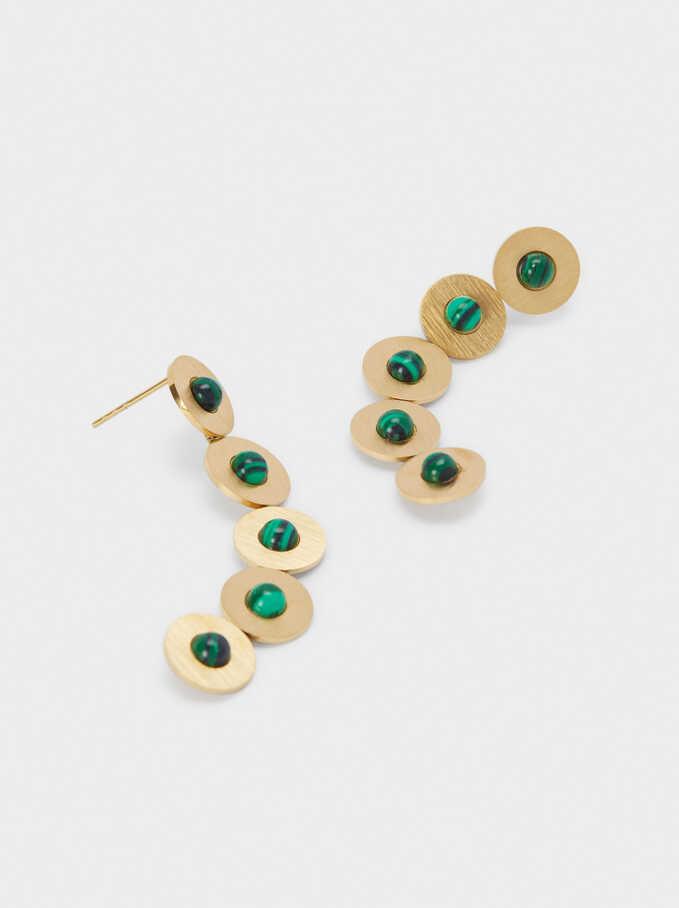 Steel Long Earrings With Stones, Green, hi-res