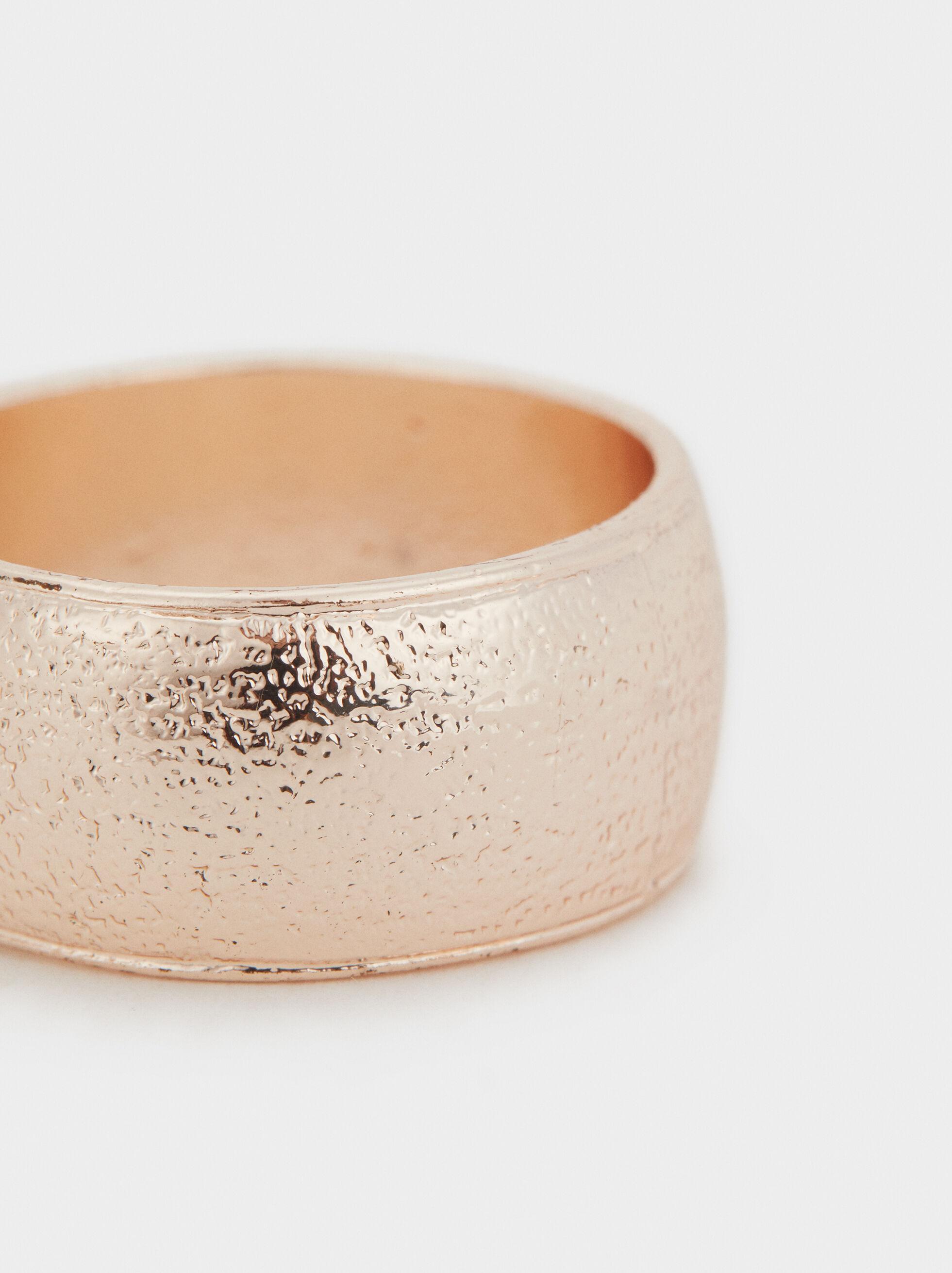 Hammered Rose Gold Band Ring, Orange, hi-res
