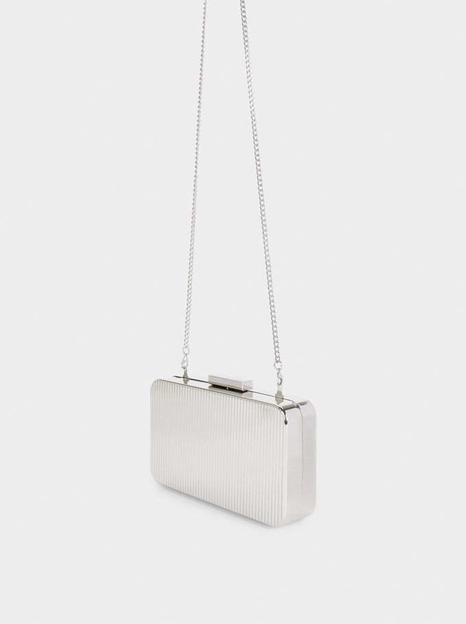 Party Clutch With Chain Handle, Silver, hi-res