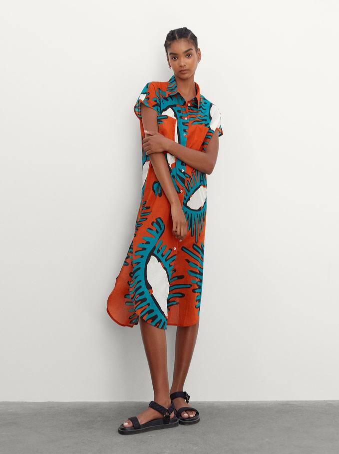 Vestito Stampato 100% Cotone, Arancione, hi-res