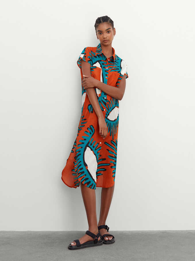 100% Cotton Printed Dress, Orange, hi-res