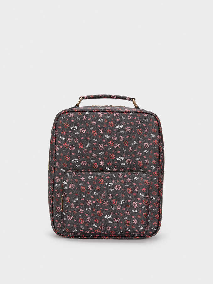 We Are Love Print Backpack, Red, hi-res