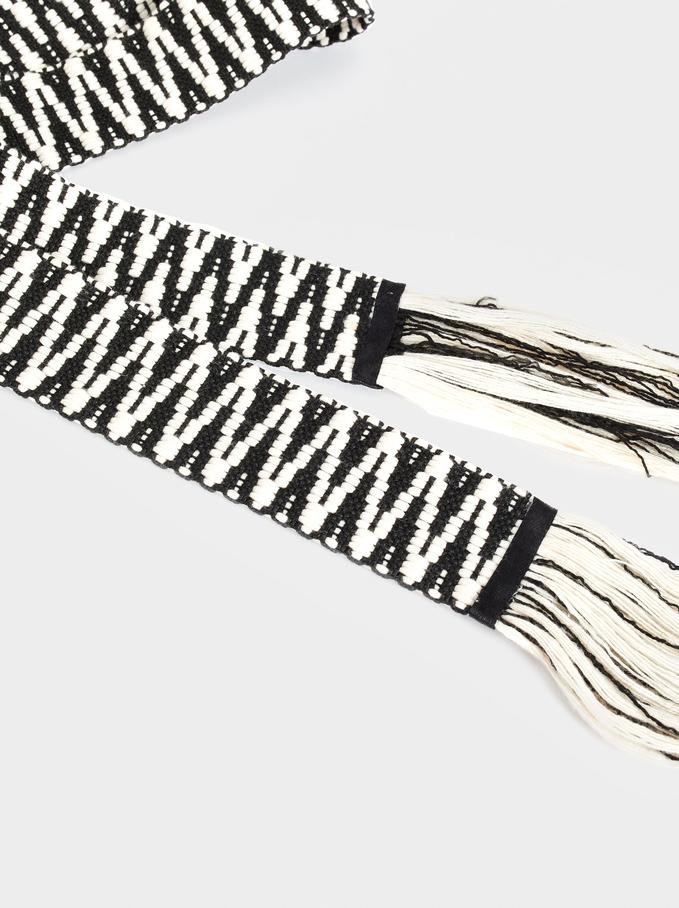 Zebra Print Belt, Ecru, hi-res