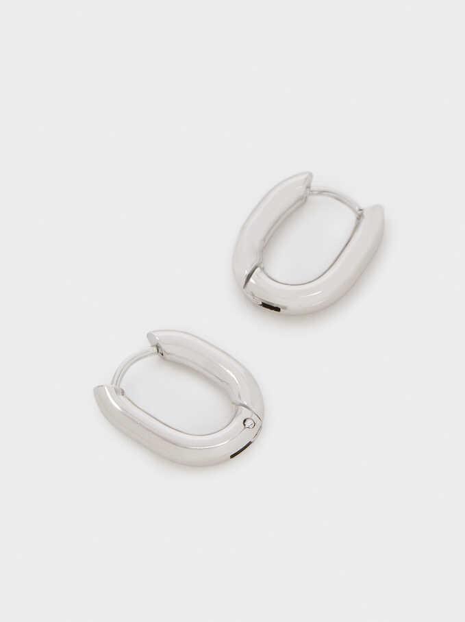 Silver Stainless Steel Small Hoop Earrings, Silver, hi-res