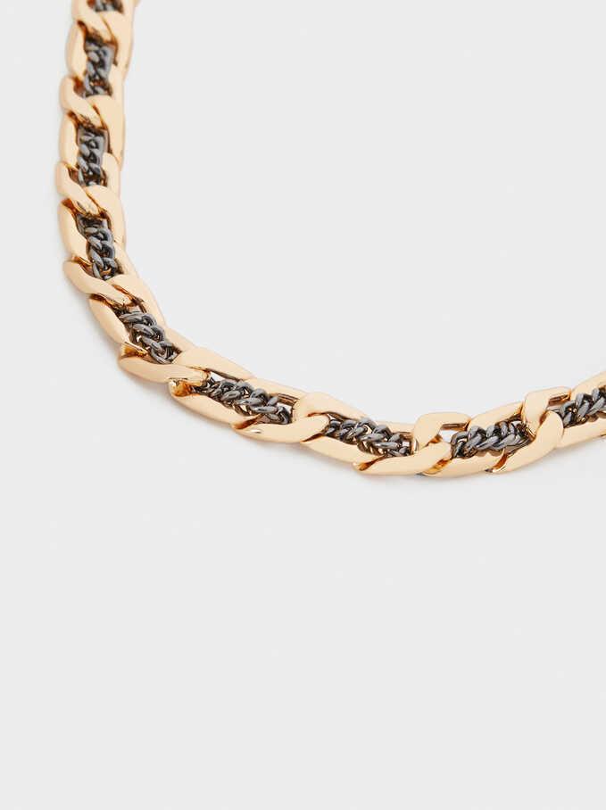 Short Woven Chain Necklace, Multicolor, hi-res
