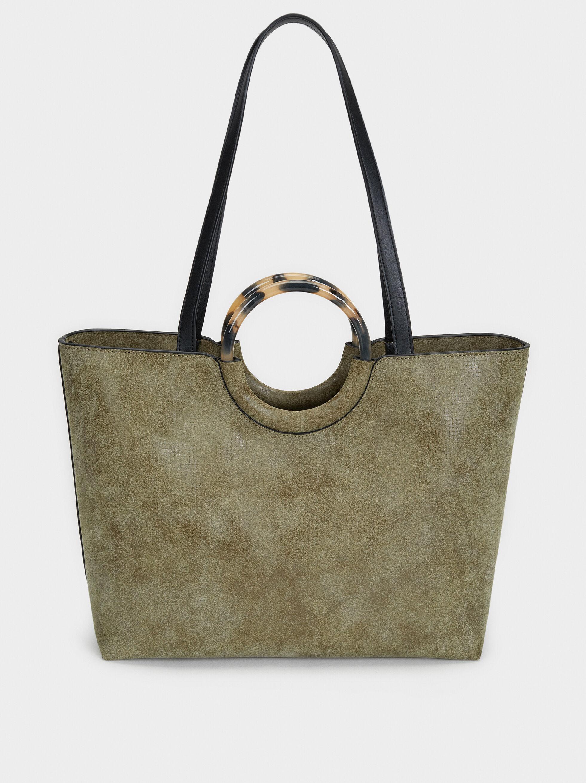 Tote Bag With Tortoiseshell Handle, Khaki, hi-res