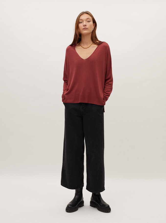Knitted V-Neck Sweater, Brick Red, hi-res