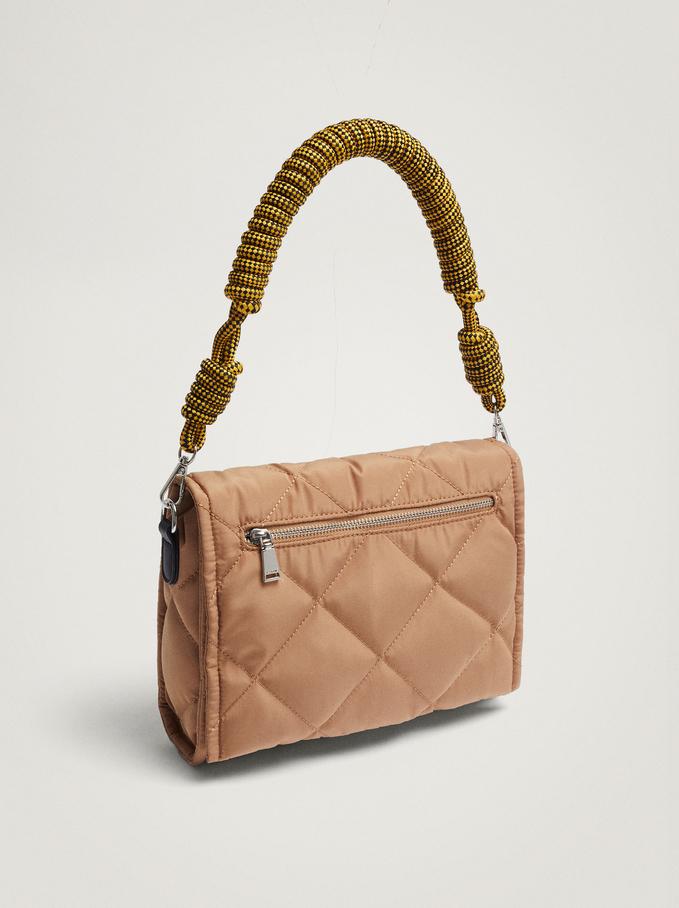Quilted Nylon Shoulder Bag, Camel, hi-res