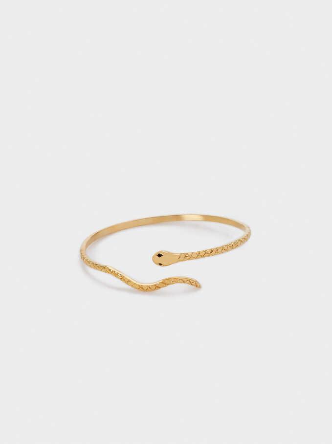 Bracelet En Acier Avec Serpent, Doré, hi-res